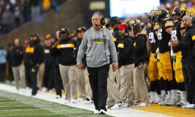 Iowa head coach Kirk Ferentz watches from the sideline during the second half of an NCAA college football game against Nebraska, Friday, Nov. 23, 2018, in Iowa City, Iowa. Iowa won 31-28. (AP Photo/Charlie Neibergall)