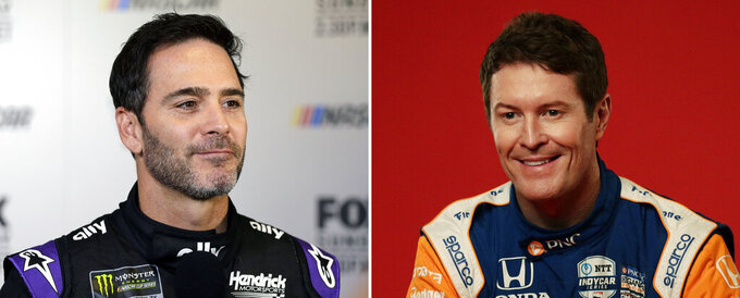 FILE - Jimmy Johnson is at left in a 2019 file photo. Scott Dixon is at right in a 2020 file photo. Jimmie Johnson will transition from NASCAR to IndyCar with Chip Ganassi Racing in a partnership that could pair two of the most dominant drivers of this generation on one team. The seven-time NASCAR champion will work with the Ganassi organization to finalize sponsorship on a two-year program for Johnson to run the road and street course races on IndyCar's schedule. If funding is secured, Johnson would be teammates with five-time IndyCar champion Scott Dixon. (AP Photo/File)