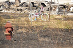 A child's bicycle survived a wildfire shown Tuesday, Sept. 8, 2020, in Malden, Wash. (AP Photo/Jed Conklin)