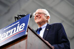 Sen. Bernie Sanders addresses a rally in North Charleston, S.C., Thursday, March 14, 2019. South Carolina gave Bernie Sanders the cold shoulder in 2016. Four years and several visits later, Sanders hopes the state is ready to warm to him. (AP Photo/Meg Kinnard)