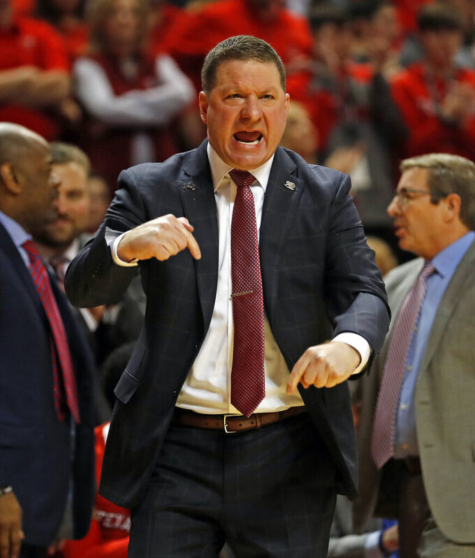 Texas Tech coach Chris Beard reacts to a play during the first half of an NCAA college basketball game against TCU, Monday, Jan. 28, 2019, in Lubbock, Texas. (AP Photo/Brad Tollefson)