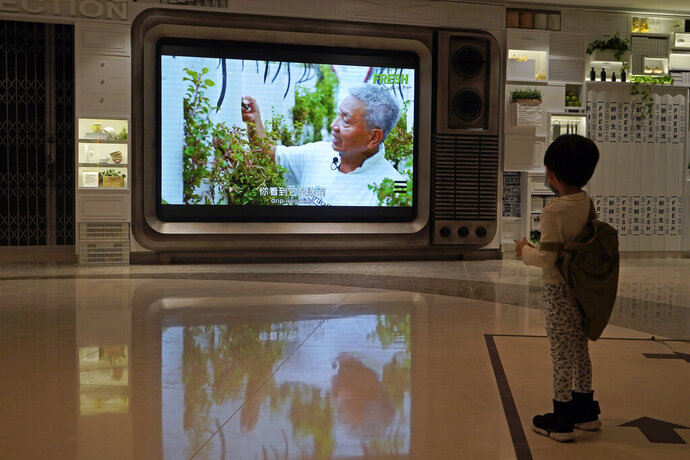 A TV screen shows a footage of Arthur Lee, owner of the MoVertical Farm, at a supermarket in Hong Kong Thursday, Sept. 24, 2020. Operating on a rented 1,000 square meter patch of wasteland in Hong Kong's rural Yuen Long, Arthur Lee's MoVertical Farm utilizes around 30 of the decommissioned containers, to raise red water cress and other local vegetables hydroponically, which eliminates the need for soil. A few are also used as ponds for freshwater fish, with the bounty sold to local supermarkets in this crowded city of 7.5 million that is forced to import most of its food. (AP Photo/Kin Cheung)