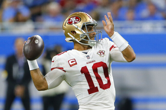 San Francisco 49ers quarterback Jimmy Garoppolo (10) throws against the Detroit Lions in the first half of an NFL football game in Detroit, Sunday, Sept. 12, 2021. (AP Photo/Duane Burleson)