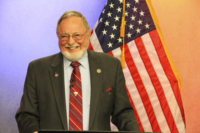 FILE - In this Oct. 26, 2018, file photo, U.S. Rep. Don Young is shown prior to a debate in Anchorage, Alaska. Rep. Young, the longest serving Republican in House history, faces token opposition in the Alaska GOP Primary on Tuesday, Aug. 18, 2020. Young, Alaska's sole member in the House, was first elected in 1973. (AP Photo/Mark Thiessen, File)