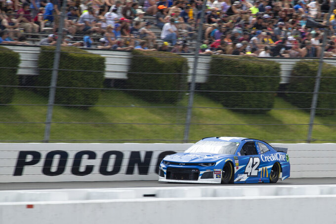 Kyle Larson drives down the front stretch during a NASCAR Cup Series auto race at Pocono Raceway, Sunday, June 2, 2019, in Long Pond, Pa. (AP Photo/Matt Slocum)