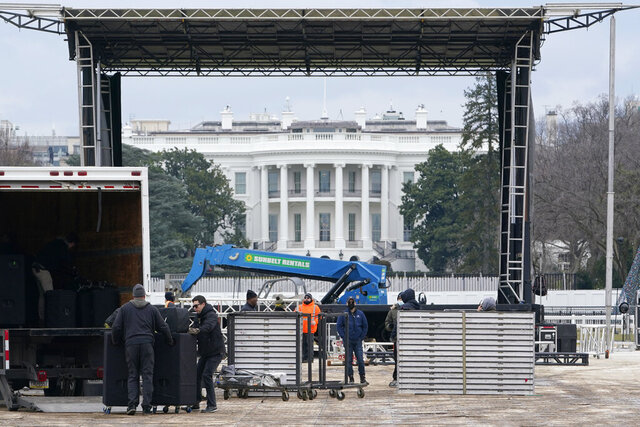 A stage is set up on the Ellipse near the White House in Washington, Monday, Jan. 4, 2021, in preparation for a rally on Jan. 6, the day when Congress is scheduled to meet to formally finalize the presidential election results. (AP Photo/Susan Walsh)