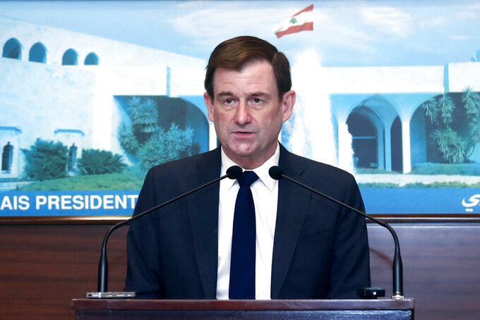 In this photo released by the Lebanese government, U.S. Undersecretary of State for Political Affairs David Hale, speaks after meeting with Lebanese President Michel Aoun, at the presidential palace, in Baabda, east of Beirut, Lebanon, Thursday, April 15, 2021. (Dalati Nohra/Lebanese Official Government via AP)