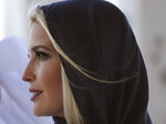 Ivanka Trump, the daughter and senior adviser to U.S. President Donald Trump visits the Sheikh Zayed Grand Mosque in Abu Dhabi, United Arab Emirates, Saturday, Feb. 15, 2020. Ivanka Trump will deliver keynote address at Global Women's Forum in Dubai tomorrow. (AP Photo/Kamran Jebreili)