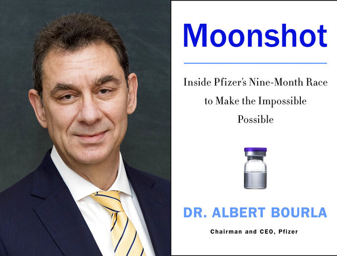 """This combination photo shows Pfizer CEO Dr. Albert Bourla, left, and the cover art for his book, """"Moonshot: Inside Pfizer's Nine-Month Race to Make the Impossible Possible."""" The book  is scheduled for release on Nov. 9. (Robert Duron via AP, left and HarperCollins via AP)"""