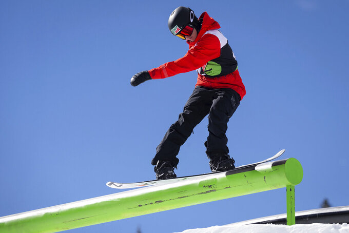 Red Gerard takes gold in the men's snowboard slopestyle final on Saturday, Feb. 8, 2020, day three of the Winter Dew Tour at Copper Mountain Resort, Colo. (Liz Copan/Summit Daily News via AP)