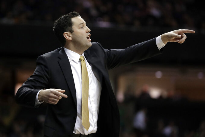 Vanderbilt head coach Bryce Drew directs his players in the first half of an NCAA college basketball game against Mississippi Saturday, Jan. 5, 2019, in Nashville, Tenn. (AP Photo/Mark Humphrey)
