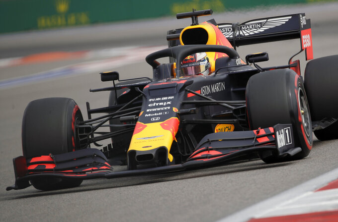 Red Bull driver Max Verstappen of the Netherlands steers his car during the first free practice at the 'Sochi Autodrom' Formula One circuit, in Sochi, Russia, Friday, Sept. 27, 2019. The Formula one race will be held on Sunday. (AP Photo/Luca Bruno)