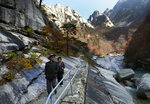 In this Oct. 23, 2018, photo, local tourists walk on the trail at Mount Kumgang, North Korea. At the height of South Korea's policy of engagement with the North, the
