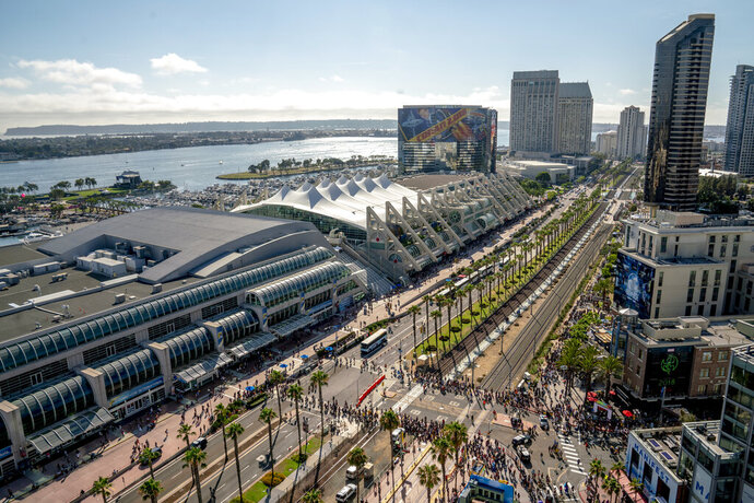 FILE - This July 20, 2018 file photo shows an aerial view of the San Diego Convention Center, the site of Comic-Con International in San Diego. This year's Comic-Comic kicks off Wednesday, July 17, 2019, with a big Marvel Studios panel on Saturday that's sure to be the hottest ticket in town. (Photo by Christy Radecic/Invision/AP, File)