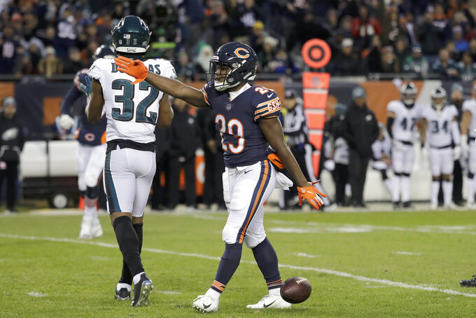 Chicago Bears running back Tarik Cohen (29) celebrates a first down during the first half of an NFL wild-card playoff football game against the Philadelphia Eagles Sunday, Jan. 6, 2019, in Chicago. (AP Photo/Nam Y. Huh)