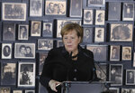 German Chancellor Angela Merkel speaks in the building of the so-called