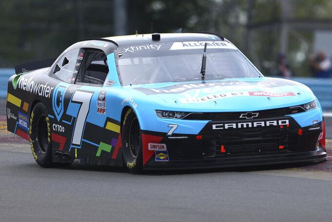 Justin Allgaier drives around Turn 1 in the NASCAR Xfinity Series auto race at Watkins Glen International in Watkins Glen, N.Y., on Saturday, Aug. 7, 2021. (AP Photo/Joshua Bessex)