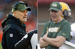 FILE - At left, in a Nov. 11, 2018, file photo, Atlanta Falcons head coach Dan Quinn talks with a line judge during the second half of an NFL game against the Cleveland Browns, in Cleveland. At right, in a July 26, 2018, file photo, then-Green Bay Packers offensive coordinator Joe Philbin watches during NFL football training camp, in Green Bay, Wis. The fortunes of the Atlanta Falcons and Green Bay Packers have changed less than two years after they met in the NFC title game. They're each trying to avoid losing records when the teams meet on Sunday at Lambeau Field. The Falcons have lost four straight to drop them out of the playoff picture. The Packers will be playing their first game under interim head coach Joe Philbin after Mike McCarthy was fired earlier in the week.(AP Photo/File)