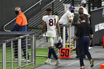 Denver Broncos wide receiver Tim Patrick (81) leaves the field after he was called for Unnecessary Roughness against the Las Vegas Raiders during the second half of an NFL football game, Sunday, Nov. 15, 2020, in Las Vegas. (AP Photo/David Becker)