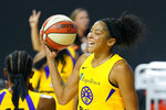 Los Angeles Sparks forward Candace Parker (3) reacts after getting called for a foul during the second half of a WNBA playoff basketball game against the Connecticut Sun Thursday, Sept. 17, 2020, in Bradenton, Fla. (AP Photo/Chris O'Meara)
