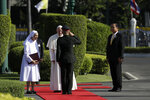 Pope Francis accompanied by his cousin Ana Rosa Sivori arrives for a welcome ceremony at the Government House courtyard, Thursday, Nov. 21, 2019, in Bangkok, Thailand. (AP Photo/Gregorio Borgia)
