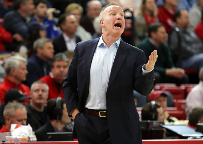 St. John's head coach Chris Mullin calls out to his team during the first half of an NCAA college basketball game against Creighton Wednesday, Jan. 16, 2019, in New York. (AP Photo/Frank Franklin II)