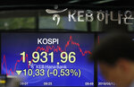 A currency trader walks by a screen showing the Korea Composite Stock Price Index (KOSPI) at the foreign exchange dealing room in Seoul, South Korea, Tuesday, Aug. 13, 2019. Asian stock markets followed Wall Street lower Tuesday amid anxiety the U.S.-Chinese trade war will hurt already slowing global economic growth. (AP Photo/Lee Jin-man)