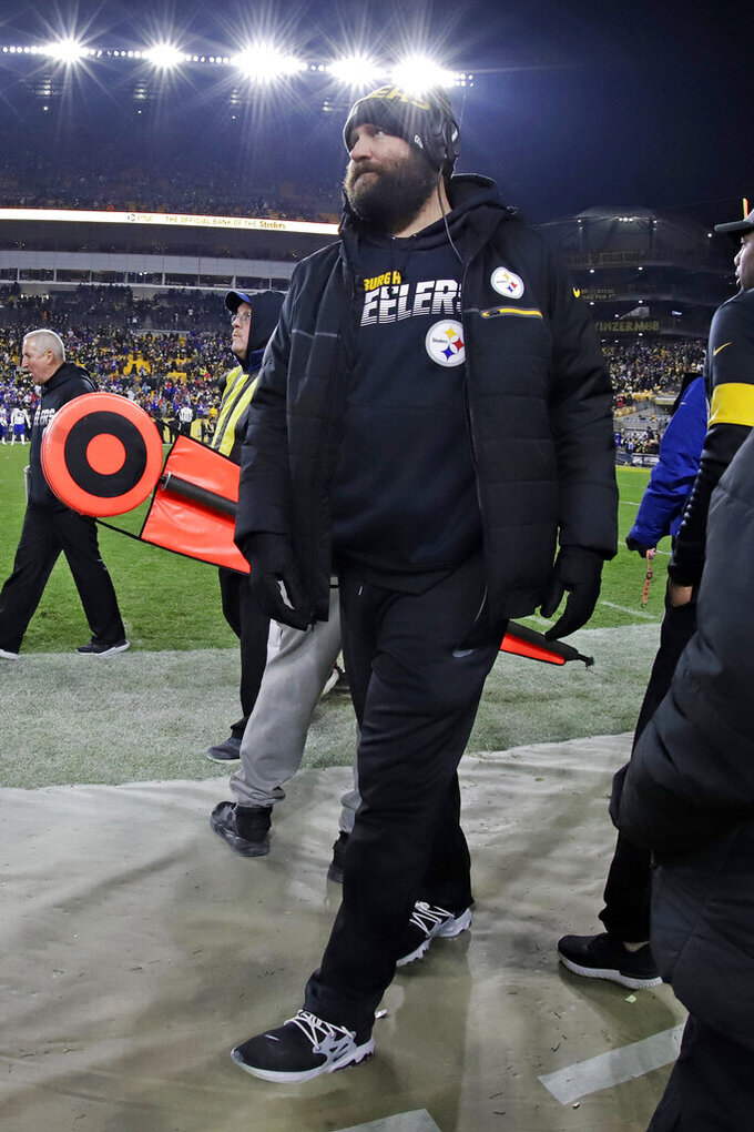 Pittsburgh Steelers quarterback Ben Roethlisberger walks in the sideline during the second half of an NFL football game against the Buffalo Bills in Pittsburgh, Sunday, Dec. 15, 2019. The Bills won 17-10. (AP Photo/Gene J. Puskar)