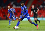 Leicester's Kelechi Iheanacho controls the ball during the English FA Cup semifinal soccer match between Leicester City and Southampton at Wembley Stadium in London, Sunday, April 18, 2021. (Richard Heathcote/Pool via AP)