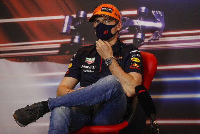 Red Bull driver Max Verstappen of the Netherlands attends a press conference ahead of Sunday's Formula One race, in Monaco, Wednesday, May 19, 2021. (Sebastien Nogier, Pool via AP)