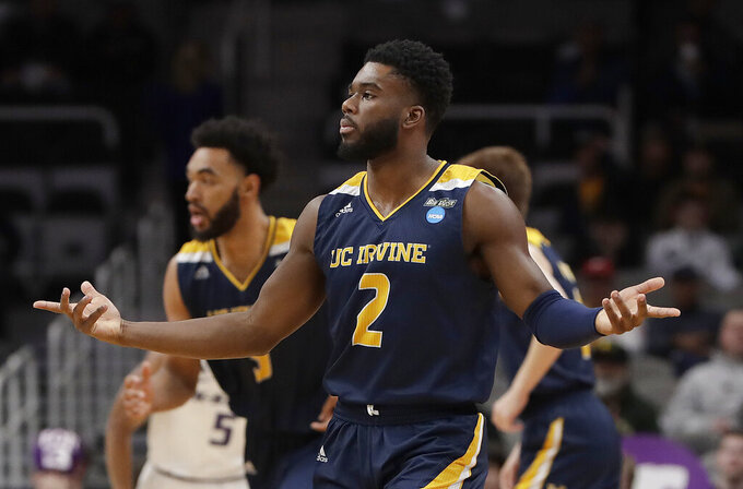 UC Irvine guard Max Hazzard (2) gestures during the first half of a first-round game against Kansas State in the NCAA men's college basketball tournament, Friday, March 22, 2019, in San Jose, Calif. (AP Photo/Chris Carlson)