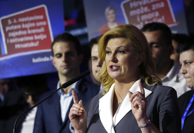 Incumbent president and presidential candidate Kolinda Grabar Kitarovic speaks in her headquarter in Zagreb, Croatia, Sunday, Dec. 22, 2019. The race for Croatia's next president is heading to a runoff vote. A preliminary count from an election held Sunday showed neither the incumbent nor any of the 10 other candidates won the office outright. With nearly all ballots counted, liberal opposition candidate Zoran Milanovic was leading the race with nearly 30% support. (AP Photo/Darko Vojinovic)