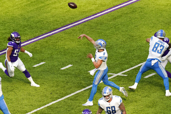 Detroit Lions quarterback Matthew Stafford (9) throws a pass during the first half of an NFL football game against the Minnesota Vikings, Sunday, Nov. 8, 2020, in Minneapolis. (AP Photo/Charlie Neibergall)