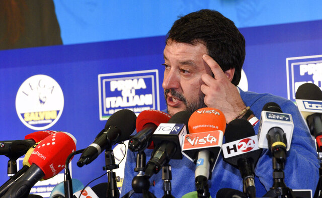 The League leader Matteo Salvini gives a press conference after polls closed in a regional election for the region of Emilia Romagna, in Bentivoglio, near Bologna, Italy, late Sunday, Jan. 26, 2020. Nearly complete results Monday, Jan. 27, 2020, of balloting for the governorship of the prosperous Emilia-Romagna region had the League's candidate some 8 percentage points behind the 51.4 percent garnered in Sunday's balloting, by the incumbent governor, of the center-left Democrats.  (Stefano Cavicchi/LaPresse via AP)