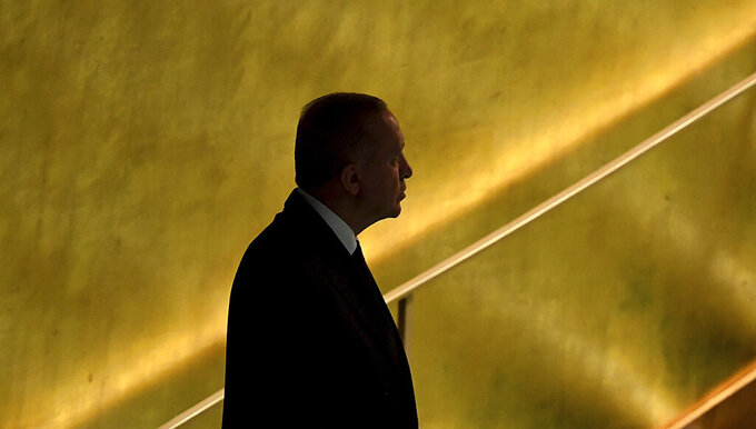 Turkey's President Recep Tayyip Erdogan prepares to address the 76th Session of the U.N. General Assembly at United Nations headquarters in New York, on Tuesday, Sept. 21, 2021.  (Timothy A. Clary/Pool Photo via AP)