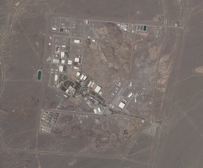 FILE - In this April 14, 2021, file satellite photo provided from Planet Labs Inc. shows Iran's Natanz nuclear facility. The Biden administration is considering a near wholesale rollback of some of the most stringent Trump-era sanctions imposed on Iran in a bid to get the Islamic Republic to return to compliance with a landmark 2015 nuclear accord, according to current and former U.S. officials and others familiar with the matter. (Planet Labs via AP)