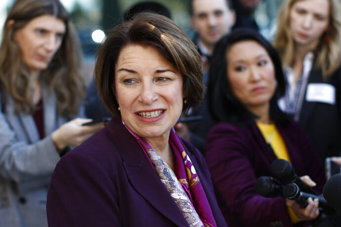 Democratic presidential candidate Sen. Amy Klobuchar, D-Minn., speaks with members of the media after touring the Culinary Health Center, Friday, Feb. 14, 2020, in Las Vegas. (AP Photo/Patrick Semansky)