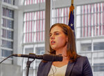 Colorado Secretary of State Jena Griswold speaks at a news conference in Denver, Wednesday, Oct. 16, 2019. Colorado officials said they want the U.S. Supreme Court to overturn an appeals court ruling that presidential electors can vote for the candidate of their choice and aren't bound by the popular vote in their states. (Jesse Paul/The Colorado Sun via AP)