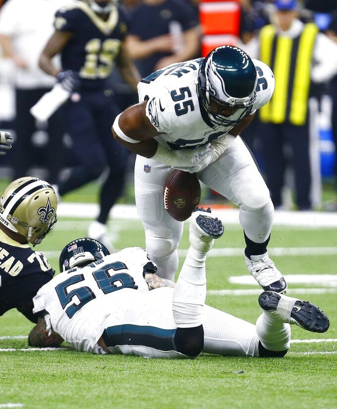 Philadelphia Eagles defensive end Brandon Graham (55) chases a fumble against the New Orleans Saints in the first half of an NFL divisional playoff football game in New Orleans, Sunday, Jan. 13, 2019. (AP Photo/Butch Dill)