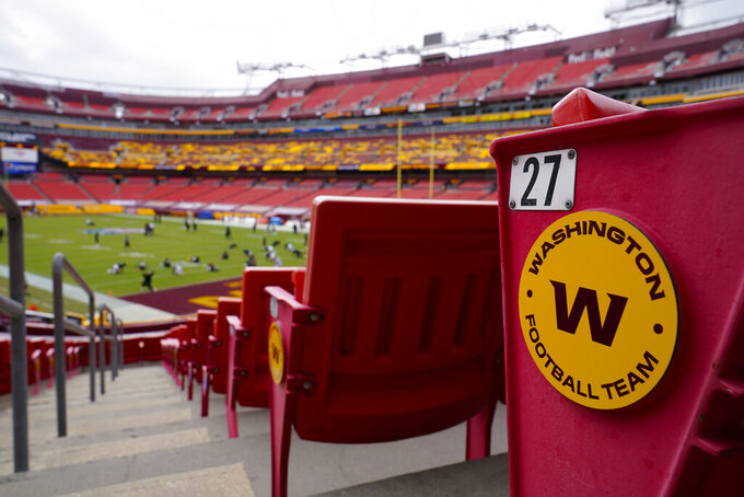 Seats at Fedex Field display the Washington Football Team logo on the seats during pregame warmups of an NFL football game between Washington Football Team and Philadelphia Eagles, Sunday, Sept. 13, 2020, in Landover, Md. (AP Photo/Susan Walsh)