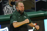Michigan State head coach Tom Izzo yells from the sideline during the first half of an NCAA college basketball game against Rutgers, Tuesday, Jan. 5, 2021, in East Lansing, Mich. (AP Photo/Carlos Osorio)