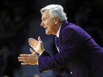 Kansas State head coach Bruce Weber reacts during the first half of an NCAA college basketball game against Oklahoma State in Manhattan, Kan., Saturday, Feb. 23, 2019. (AP Photo/Orlin Wagner)