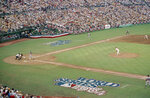 FILE - In this Oct. 9, 1984, file photo, San Diego Padres pitcher Mark Thurmond throws a pitch toward a Detroit Tigers batter in the first inning of the opening game of the World Series at Jack Murphy Stadium in San Diego. The biggest piece of San Diego's sports history is slowly being knocked down and ground to bits. Now the stadium is coming to an unceremonious end, leaving generations of fans feeling melancholy because, due to the coronavirus pandemic, they didn't get to say a proper goodbye to the place where they tailgated with gusto in the massive parking lot before cheering on the Chargers, Padres and Aztecs, or watched myriad other events and concerts. (AP Photo/File)