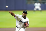 Miami Marlins starting pitcher Sixto Sanchez throws during the first inning in Game 3 of a baseball National League Division Series against the Atlanta Braves, Thursday, Oct. 8, 2020, in Houston. (AP Photo/David J. Phillip)