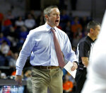 Florida coach Mike White yells to his players during an NCAA college basketball game against Mississippi on Tuesday, Jan. 14, 2020, in Gainesville, Fla. (Brad McClenny/The Gainesville Sun via AP)