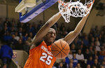 Syracuse's Tyus Battle (25) dunks against Duke during the first half of an NCAA college basketball game in Durham, N.C., Monday, Jan. 14, 2019. (AP Photo/Gerry Broome)