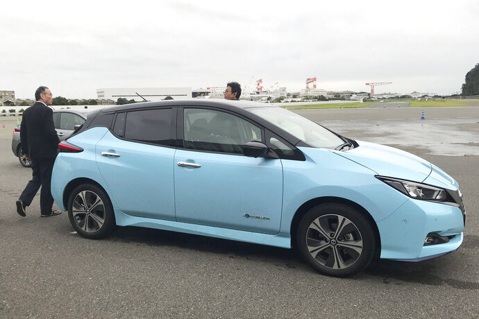 In this Oct. 18, 2019, photo, Nissan's electric vehicle with new