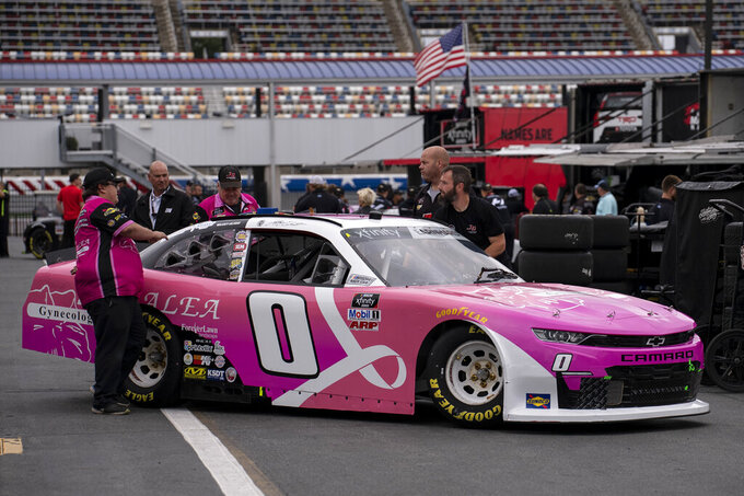 **TEST ONLY NASCAR XFIN** during the NASCAR XFINITY Cup Series race at the Charlotte Motor Speedway Road Course Saturday, Oct. 9, 2021, in Concord, N.C. (AP Photo/Matt Kelley)
