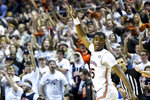 Auburn guard Devan Cambridge (35) celebrates a three-point shot against Georgia Southern during the first half of an NCAA college basketball game Tuesday, Nov. 5, 2019, in Auburn, Ala. (AP Photo/Julie Bennett)
