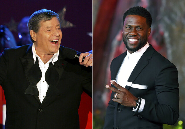 Jerry Lewis performs during the Muscular Dystrophy Association telethon in Beverly Hills, Calif. on Sept. 5, 2005, left, and Kevin Hart arrives at the Los Angeles premiere of